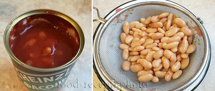 На фото консервированная фасоль в банке с соусом и промытая фасоль в сите