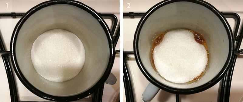 На фото эмалированная чашка с сахарным песком для жженки