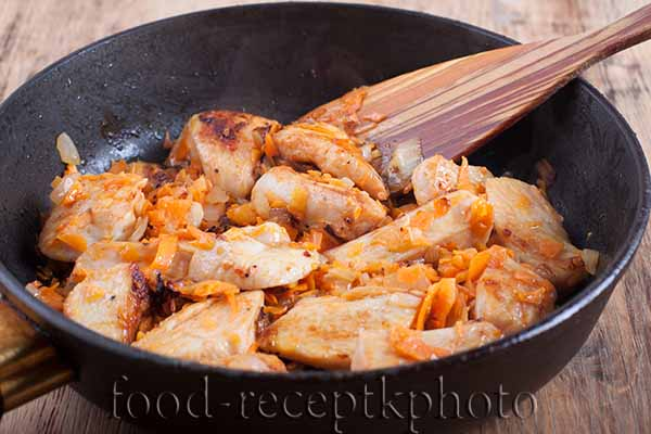 Куриное мясо на сковороде