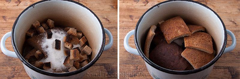 На фото кастрюля с хлебушком и сухарями