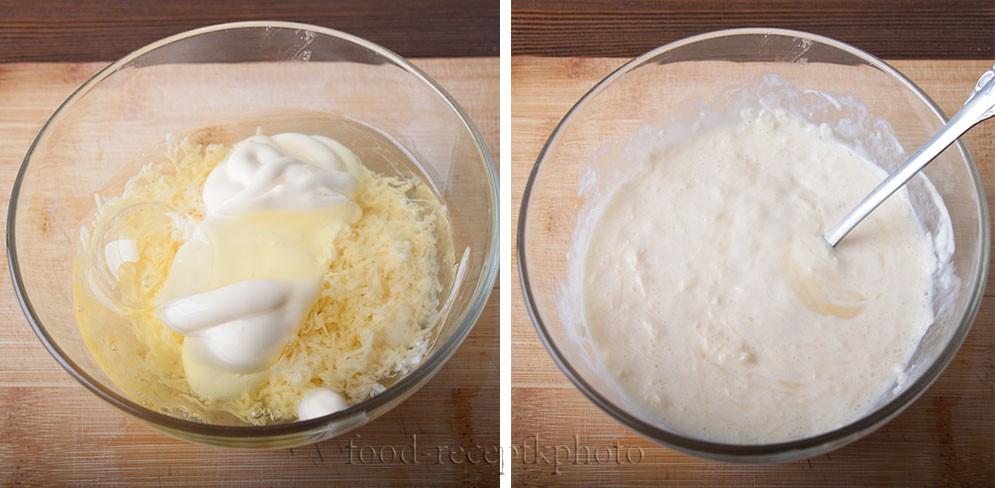 На фото сырно-яичная заправка в стеклянном салатнике