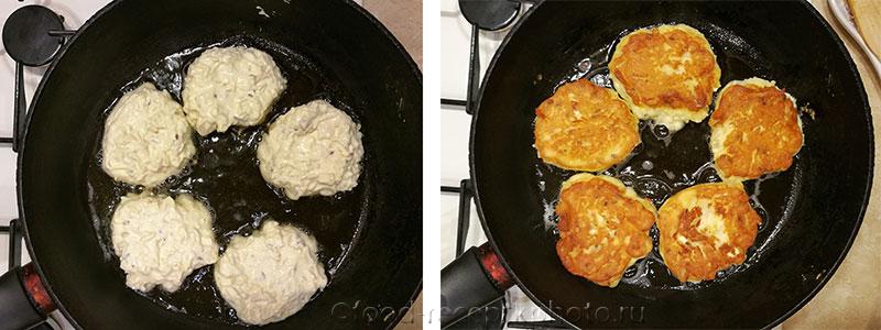 На фото в сковороде жарятся рисово-творожные оладьи