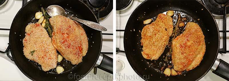 Куриное филе в паприке с кунжутной панировкой в сковороде с розмарином и чесноком