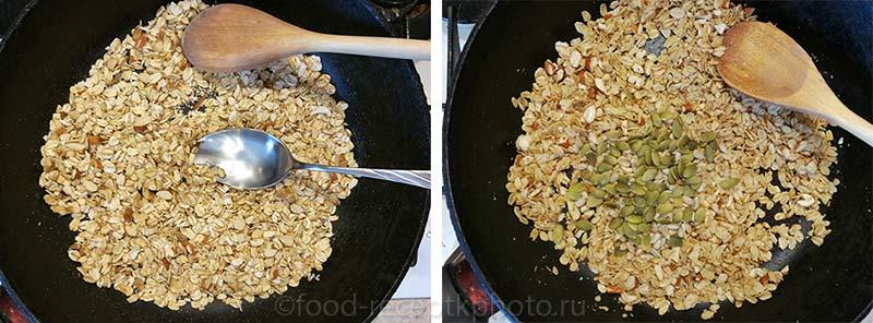 Домашняя гранола-приготовление в сковороде