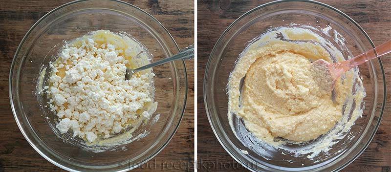 Масляная смесь с сахаром и творогом для приготовления творожного печенья