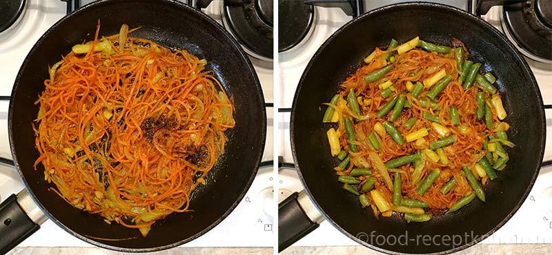 морковь,фасоль  и репчатый лук в сковороде