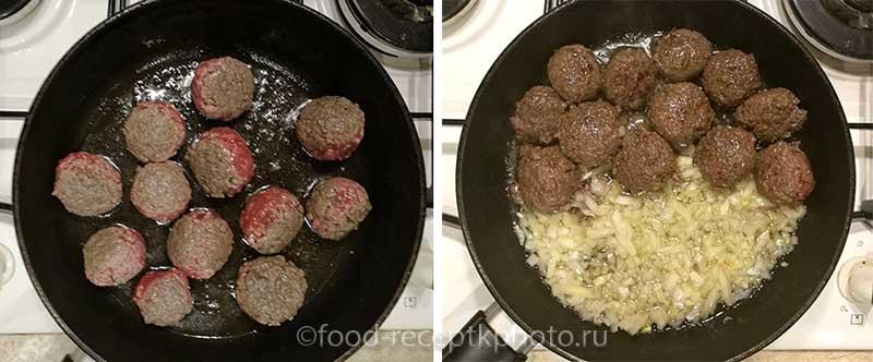 Фрикадельки в сковороде