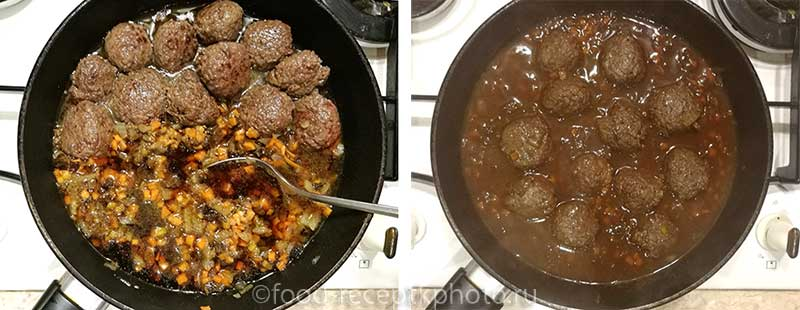 Фрикадельки с грибным соусом в сковороде