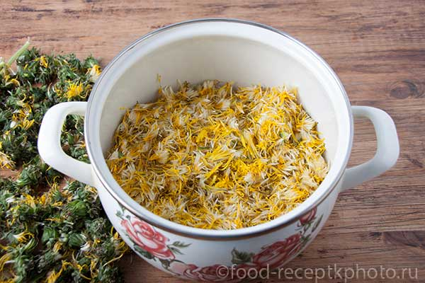 Цветки одуванчиков в кастрюле для приготовления сиропа