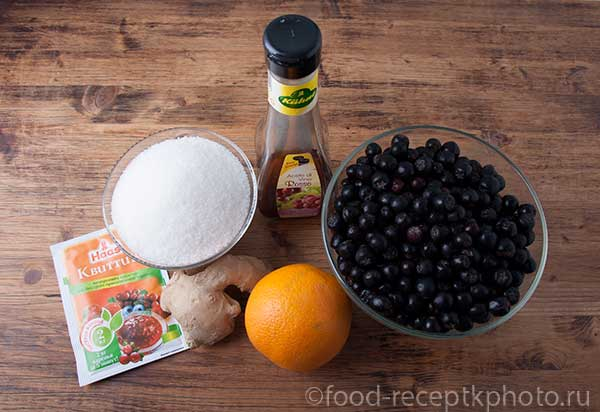 Ингредиенты для джема из черноплодной рябины с имбирем и цедрой апельсина